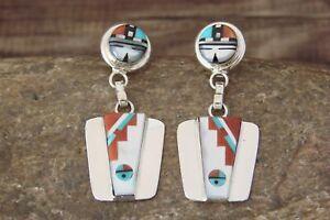 Zuni-Sterling-Silver-Coral-MOP-Jet-Inlay-Sunface-Post-Earrings-Edaakie