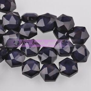 5pcs-14mm-Hexagon-Shape-Faceted-Glass-Loose-Spacer-Beads-Porcelain-Bluish-Violet