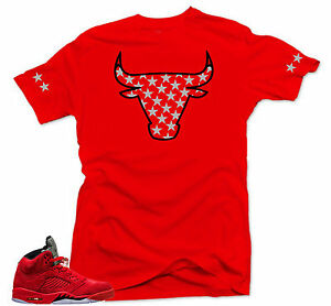 c71585290dd Shirt to match Nike Air Jordan Retro 5 Red Suede Sneakers.Bull 5 Red ...
