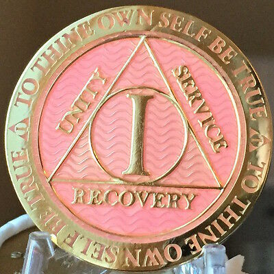 1 Year AA Medallion Green Gold Plated Alcoholics Anonymous Sobriety Chip Coin
