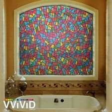 """Frosted Modern Stained Glass Window Privacy Home Decor DIY Vinyl Film 36"""" x 24"""""""