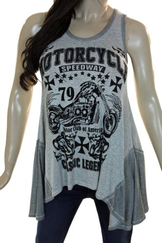 Vocal Black White Crystal Motorcycle Maltese Cross Sleeveless Tunic Top New