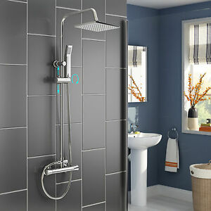 rain shower head with handheld. Image is loading Thermostatic Rain Shower Faucet Set Bathroom Twin  Head Hand