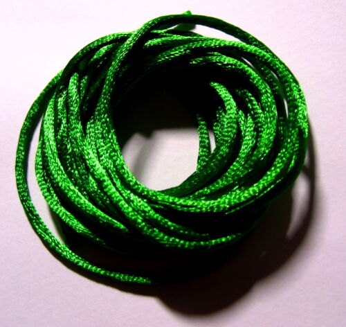3 metres pre-cut EMERALD GREEN Satin Rattail Cord 2mm thick