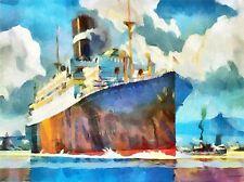 CUNARDER AT SOUTHAMPTON LINER SHIP BOAT WATERCOLOUR POSTER ART PRINT 445PYLV