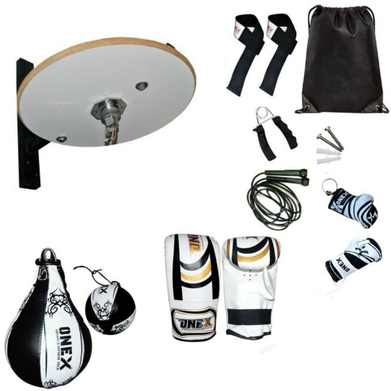 ONEX ROT Real Leder Speed Ball Folding Weiß Platform Set Boxing Home Trainin
