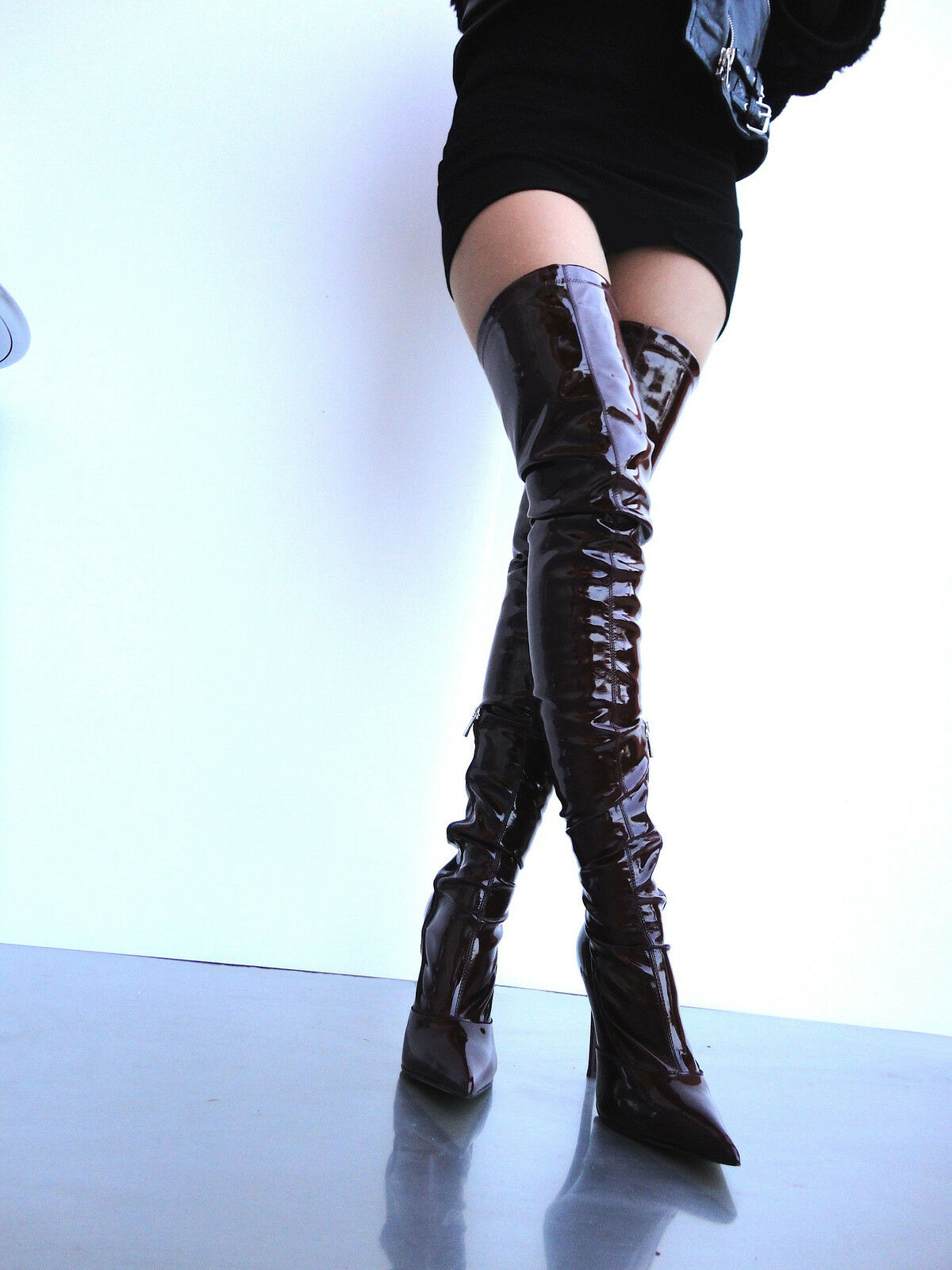 CQ COUTURE OVERKNEE STIEFEL STIEFEL STIEFEL STIEFEL STIEFEL STRETCH 100% VEGAN LEATHER ROT 39  699515