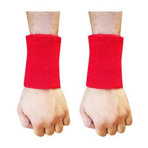 Sweat-Wrist-Band-Sport-Aerobics-Badminton-Cricket-WRISTBAND-Red-4-5-034