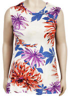 Ladies Womens Cream Multi Floral Plus Size Sleevelss Top BNWT (Max) Sizes 18-26