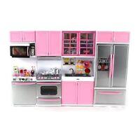 Dollhouse Furniture Kitchen Playset Barbie House Accessories Pink Girls Play Set