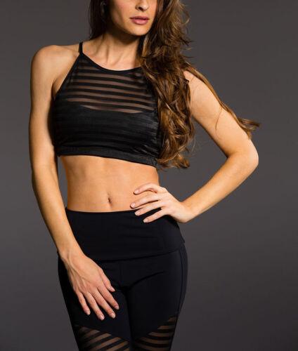 Onzie Hot Yoga Mesh Halter Bra 350 Black Stripes