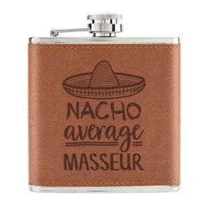Nacho-Moyenne-Masseur-170ml-Cuir-PU-Hip-Flasque-Fauve-Worlds-Best-Massage