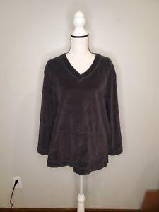 J. Jill Large Women's Top Black Velvet V Neck Pockets Long Sleeve Shirt