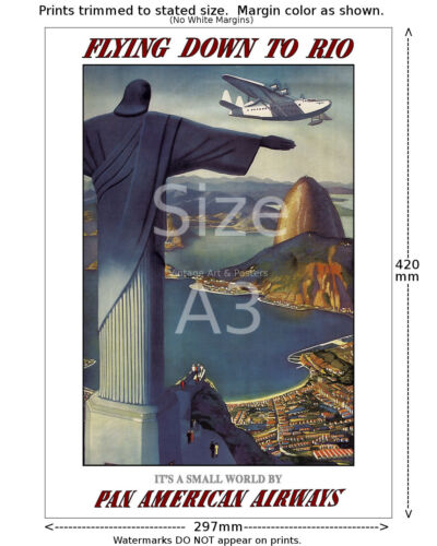 Pan Am Flying Down to Rio #1 Airline Travel Poster 6 sizes matte+glossy avail