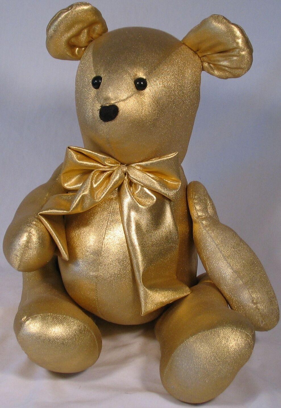 oro Lamé Bear, movable arms & legs, 17  tall