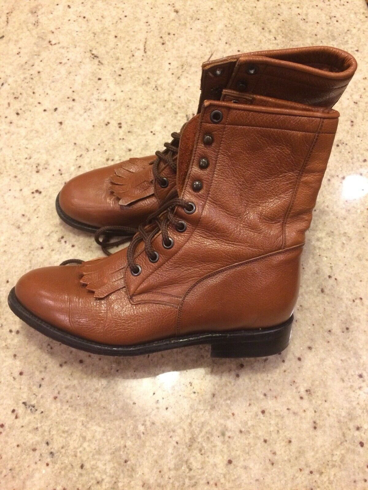 BEN MILLER Leather Lace Up Cowboy Roper Ankle Boots shoes Women's Size 7