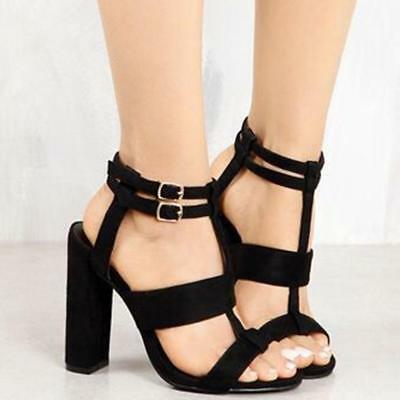Women High Heel Strappy Ankle Buckle Block Sandals Open Toe Gladiator Shoe LG