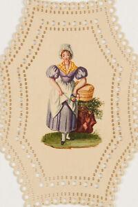 Glückwunschkarte. Magd mit gefüllten Körben, 19. Jh., Aquarell