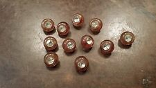 11 VINTAGE BROWN CRYSTAL RHINESTONE PLASTIC SHANK BUTTONS FREE SHIPPING