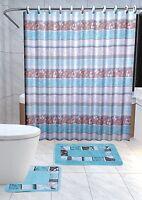 Zen 15-pc Bathroom Accessories Set Rugs Shower Curtain Bath Turquoise & Brown