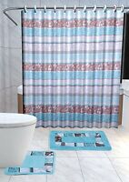 Zen 15-pc Bathroom Accessories Set Rugs Shower Curtain Bath Turquoise & Brown