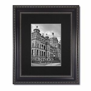 One 16x20 Ornate Black Picture Frames Glass Single Black Mat For