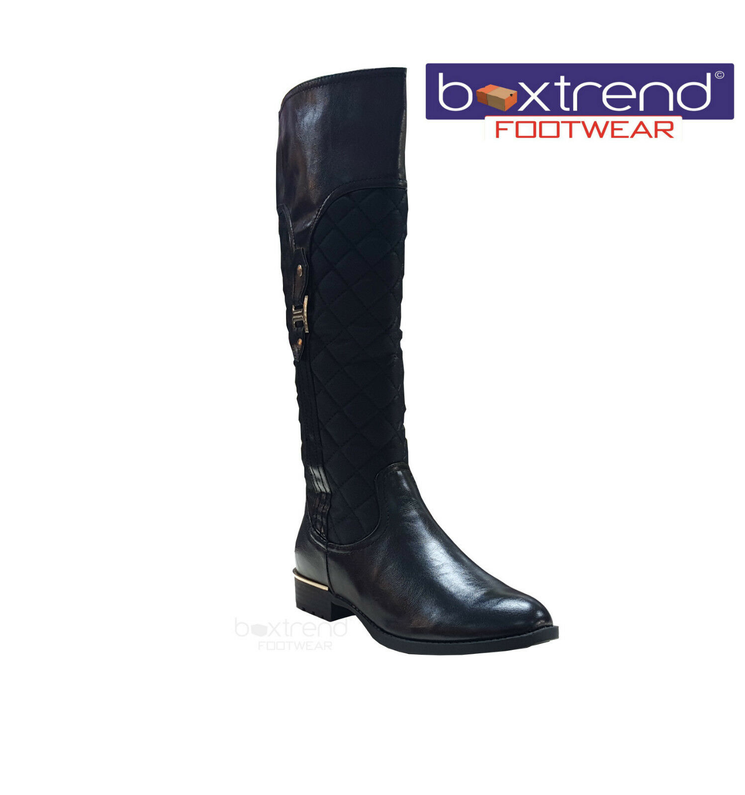WOMENS LADIES KNEE HIGH QUILTED ZIP UP LOW HEEL WINTER BOOTS SHOES RIDING BLACK