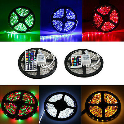 5M 5050 RGB 300 SMD Flexible LED strip Light Waterproof Tape Roll Lamp + 44K IR
