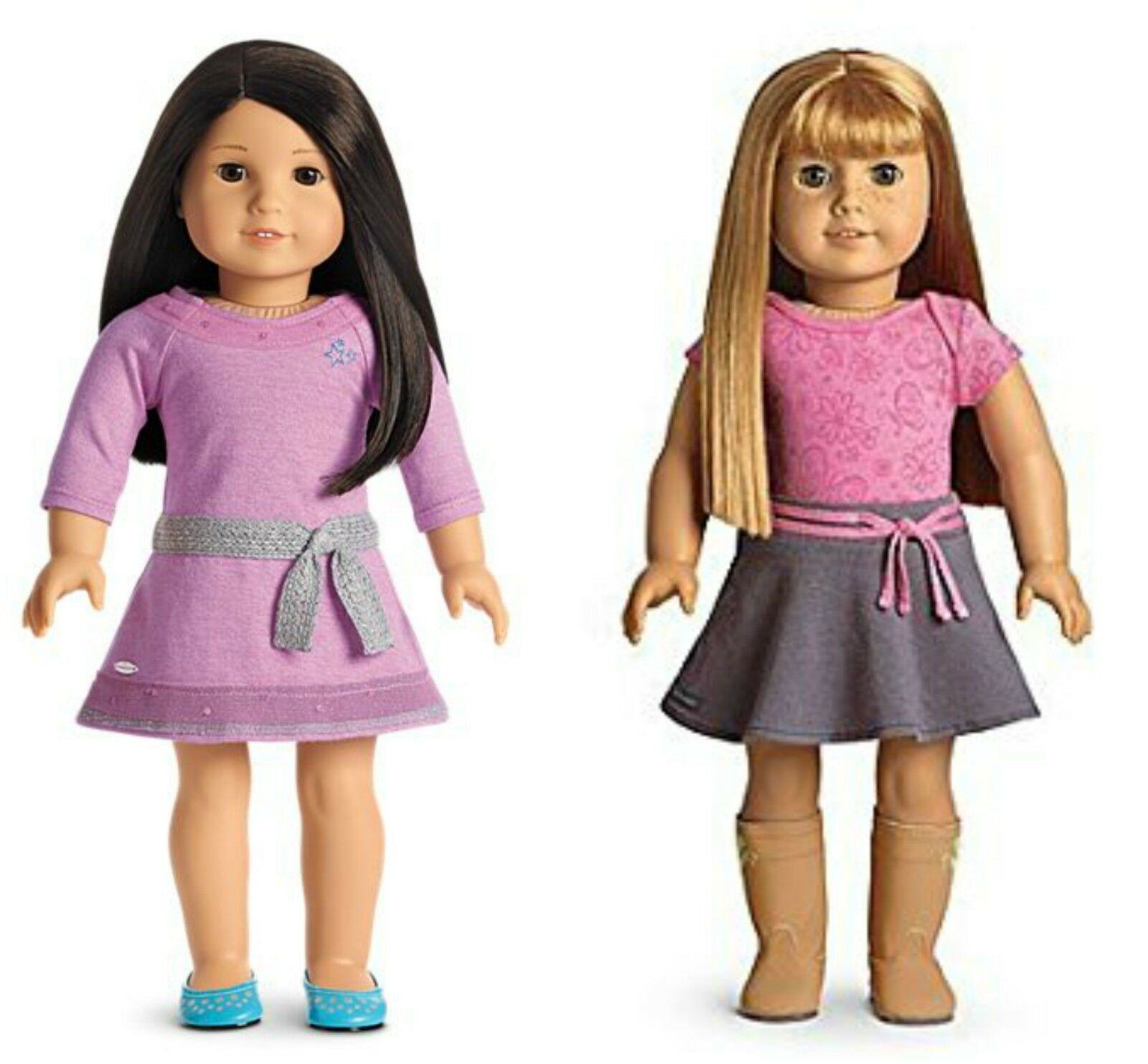 American Girl Doll 2x Meet Outfits LILAC DRESS Set & True Spirit Outfit