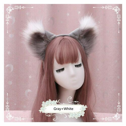 Anime Christmas Cute Fox Wolf Long Fur Plush Ears Hairpin Set Cosplay Party Prop