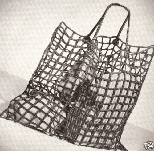 Vintage Crochet PATTERN to make Large Reuseable Net Shopping Market Grocery Bag