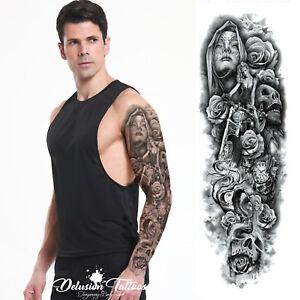 Realistic Temporary Tattoo Sleeve Arm Hells Angel Skull Roses