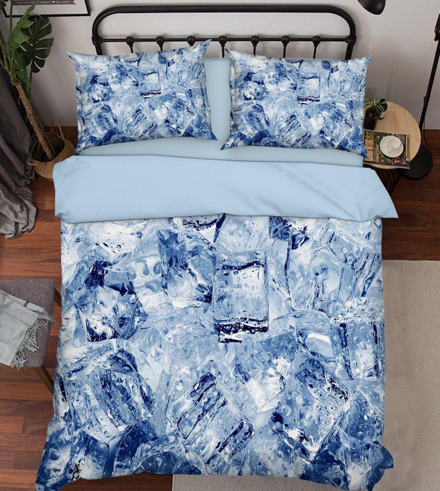 3D Natural Ice 76 Bed Pillowcases Quilt Duvet Cover Set Single King UK Summer