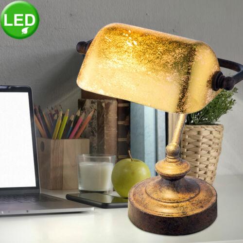Vintage LED Schreib Tisch Lese Leuchte Büro Banker Lampe Gold Spot Beleuchtung