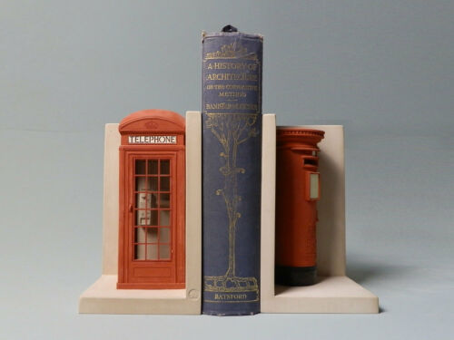 Telephone /& Post Boxes Matched Pair Bookends Model 1.5Kg Figure Sculpture New