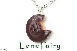 Polymer-Clay-Jaffa-Cake-Silver-Plated-Chain-Necklace-Keyring-Earrings-Food