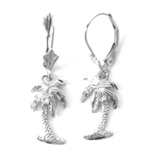 "27 mm E1117-60 14K Solid White Gold Hawaiian Palm Tree Earring 1 1//16"""
