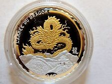 """2012 Cameroon """"Year Of The Dragon"""" Gilt Silver 1000 Francs Coin"""