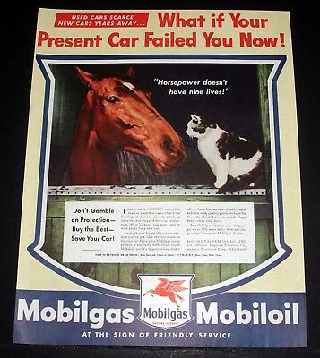 Socony-vacuum Mobilgas Ambitious 1944 Wwii Magazine Print Ad What If Your Car Failed?