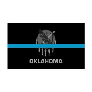 Oklahoma OK State Flag Thin Blue Line Police Sticker / Decal #274 Made in USA