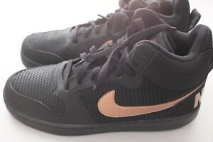 bdd52788ae88 NEW Nike Womens Court Borough Mid Premium Sneaker Black Gold Sz 11 ...