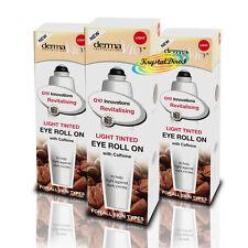 3x Derma V10 Light Tinted Eye Roll On Gel with Caffeine Against Dark Circle 15ml