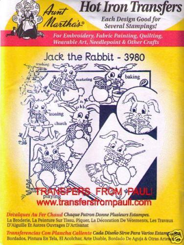 Kitchen Rabbits Aunt Martha/'s Hot Iron Embroidery Transfer #3980