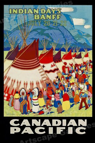 Candian Pacific 1925 Banff Indian Days Vintage Style Travel Poster 16x24