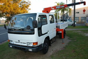 1992 H41 NISSAN ATLAS DUALCAB TRUCK WITH 3 STAGE UNIC 2.5 TON RUNNING ROPE CRANE