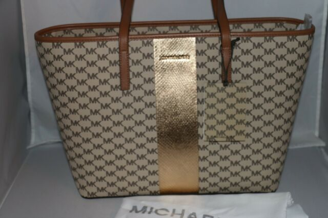 43cc4dc75a8b Michael Kors 30s7mijt8v Emry Large Top Zip Heritage Signature Tote Bag  Natural