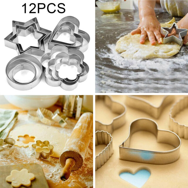 12 Pcs Star Biscuit Cookie Cutters Cake Mould Sugarpaste Decorating Pastry UK