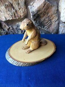 VTG Hand Carved signed Wooden CHIPMUNK Primitive FOLK ART Sculpture