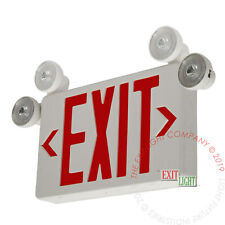 Led Exit Sign Amp Emergency Light Red Compact Combo Fire Safety Ul924 Combocr