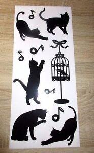 aufkleber sticker dekoration wandtattoo katzen / notenschlüssel vogel 11 teilig | ebay